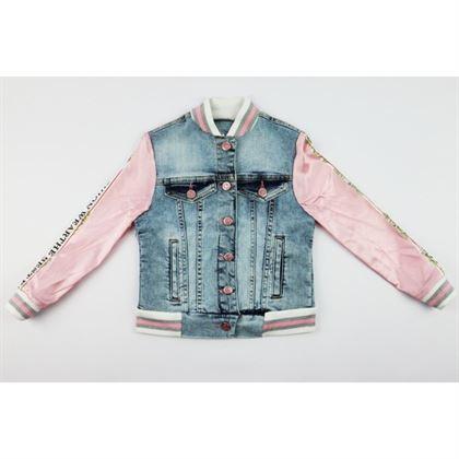 Kurtka jeansowa dla dziewczynki z satynowymi różowymi rękawami 2
