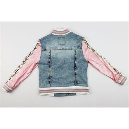Kurtka jeansowa dla dziewczynki z satynowymi różowymi rękawami 3