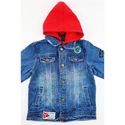 Kurtka jeansowa niebieska z czerwonym kapturem i naszywkami 1