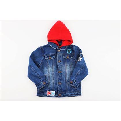 Kurtka jeansowa niebieska z czerwonym kapturem i naszywkami 3