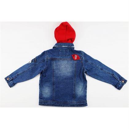 Kurtka jeansowa niebieska z czerwonym kapturem i naszywkami 5