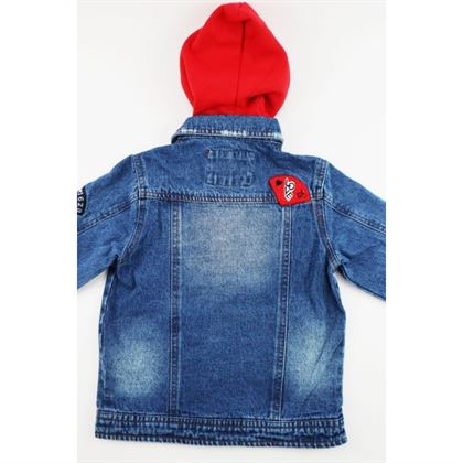 Kurtka jeansowa niebieska z czerwonym kapturem i naszywkami 6