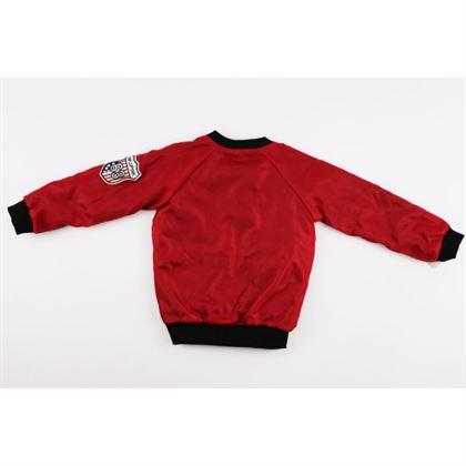 Bordowa bomberka dla chłopca z ociepleniem wewnątrz i czerwoną naszywką 1