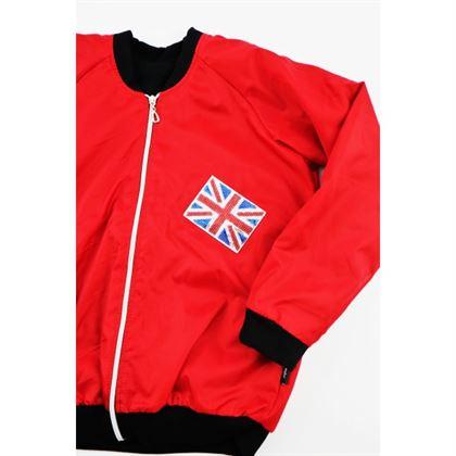 Czerwona bomberka z angielską flagą i napisem LOVE 1