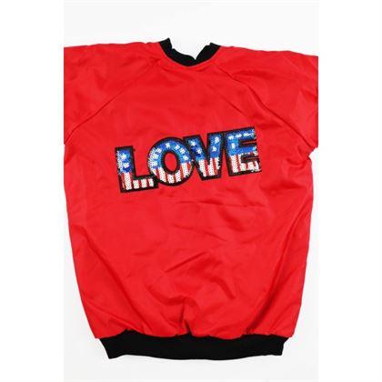 Czerwona bomberka z angielską flagą i napisem LOVE 3