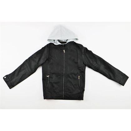 Czarna kurtka z ekoskóry dla chłopca z doszytym szarym kapturem