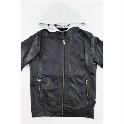 Czarna kurtka z ekoskóry dla chłopca z doszytym szarym kapturem 1