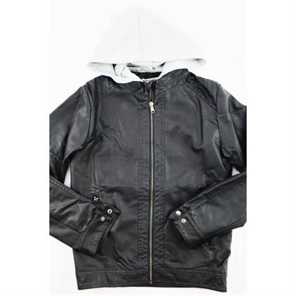 Czarna kurtka z ekoskóry dla chłopca z doszytym szarym kapturem 2