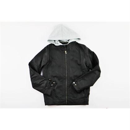 Czarna kurtka z ekoskóry dla chłopca z doszytym szarym kapturem 4
