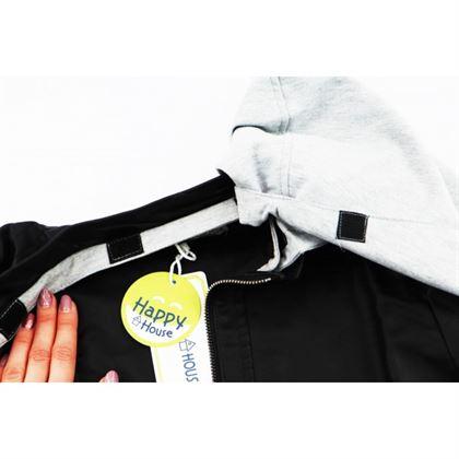 Czarna kurtka z ekoskóry dla chłopca z doszytym szarym kapturem 5