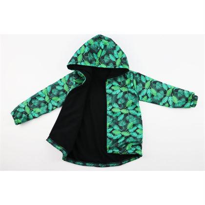 Kurtka wiosenna dla chłopca w zielone liście, ocieplana od wewnątrz