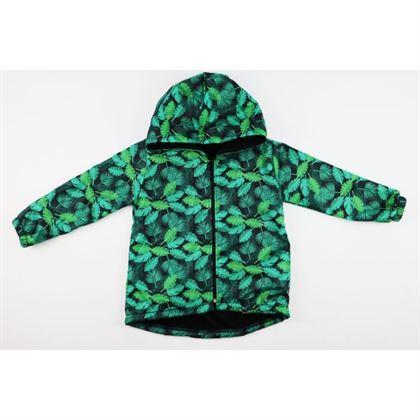 Kurtka wiosenna dla chłopca w zielone liście, ocieplana od wewnątrz 1