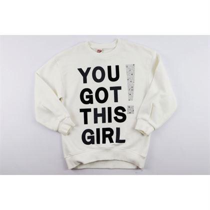 Bluza dla dziewczynki w kolorze ecru z napisem You got this girl
