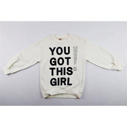 Bluza dla dziewczynki w kolorze ecru z napisem You got this girl 1