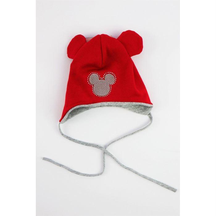 Czerwona czapeczka dla dziewczynki ze srebrną MIKI