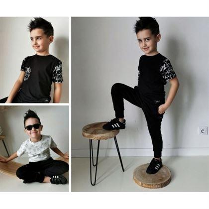 T-shirt dla chłopca z wzorzystymi rękawkami i kieszonką 6
