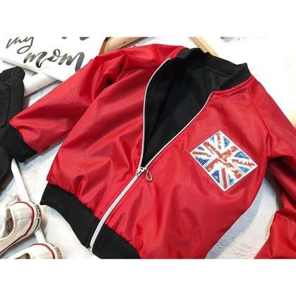 Czerwona bomberka z angielską flagą i napisem LOVE 6