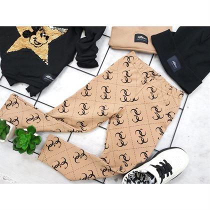Legginsy dla dziewczynki z kieszonką w kolorze cappucino z grafikami 3