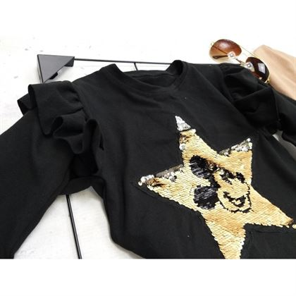 Czarna bluza dla dziewczynki ze złotą gwiazdą i grafiką Miki 4