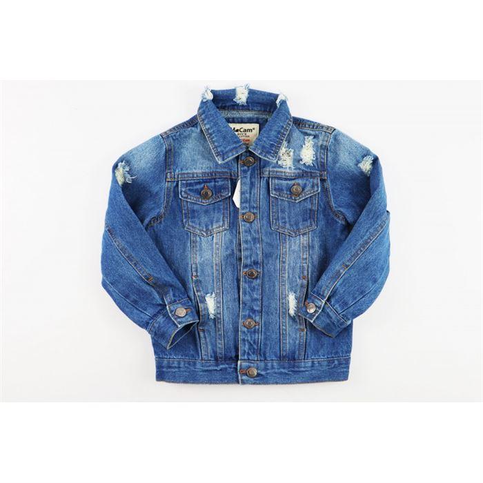 Niebieska kurtka jeansowa unisex z przetarciami