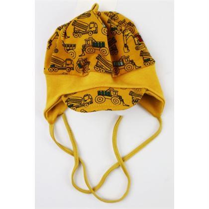 Musztardowa czapeczka dla chłopca w koparki
