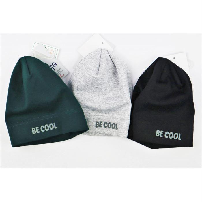 Czapka chłopięca basic z napisem Be Cool- 3 kolory do wyboru