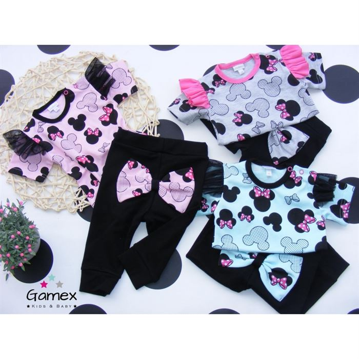 Różowy komplet dla dziewczynki różowy GAMEX body i spodnie