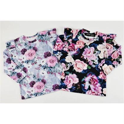 Longsleeve dla dziewczynki ze skrzydełkami w piękne kwiaty-2 kolory do wyboru