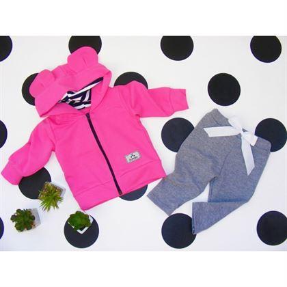 Dres dla dziewczynki Gamex- fuksjowa bluza i szare spodnie z kokardką