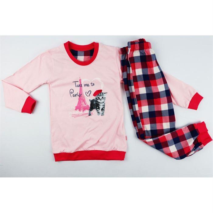 Piżamka dla dziewczynki różowo-czerwona z kotkiem