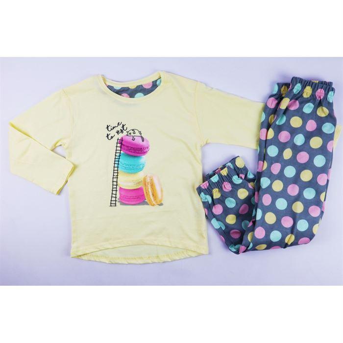 Jasno-żółta piżamka dla dziewczynki z kotkiem i ciastkami