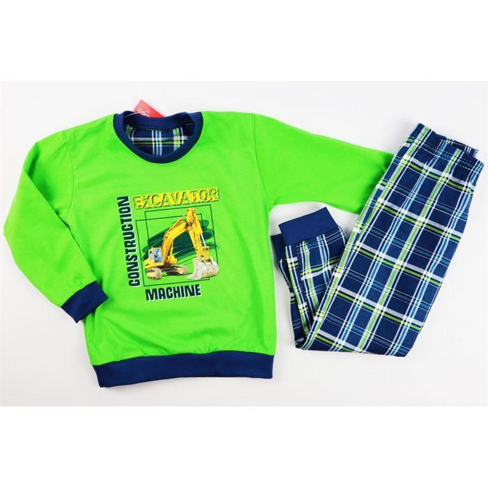 Zielona piżamka dla chłopca z żółtą koparką
