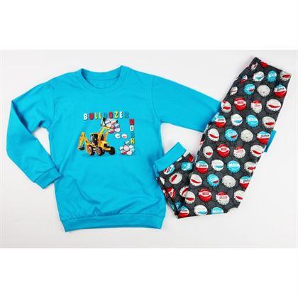 Turkusowa piżamka dla chłopca z żetonami