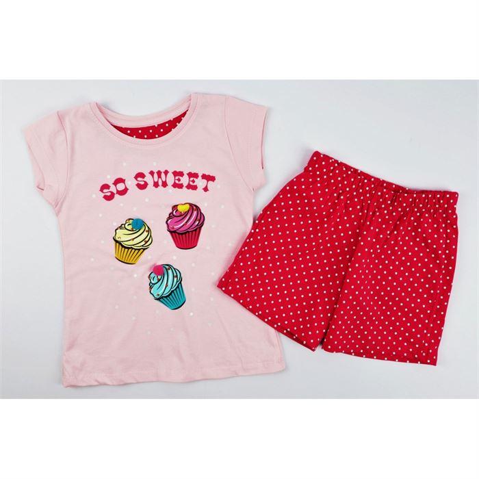 Różowa piżamka dla dziewczynki z muffinkami