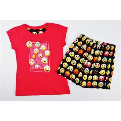 Fuksjowa piżamka dla dziewczynki z emotikami
