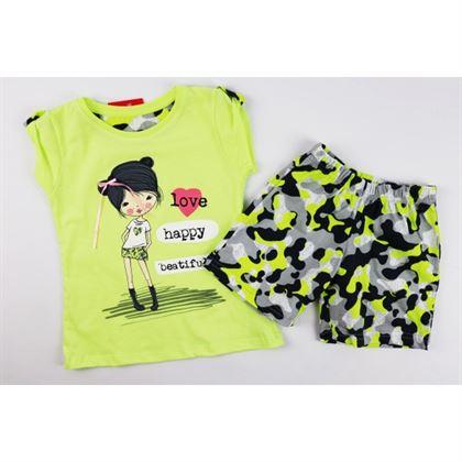 Zielona piżamka dla dziewczynki z grafikami