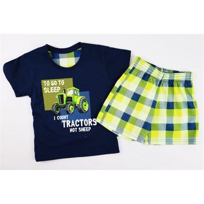 Granatowa piżamka dla chłopca z ciągnikiem