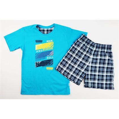 Niebieska piżamka dla chłopca z napisami