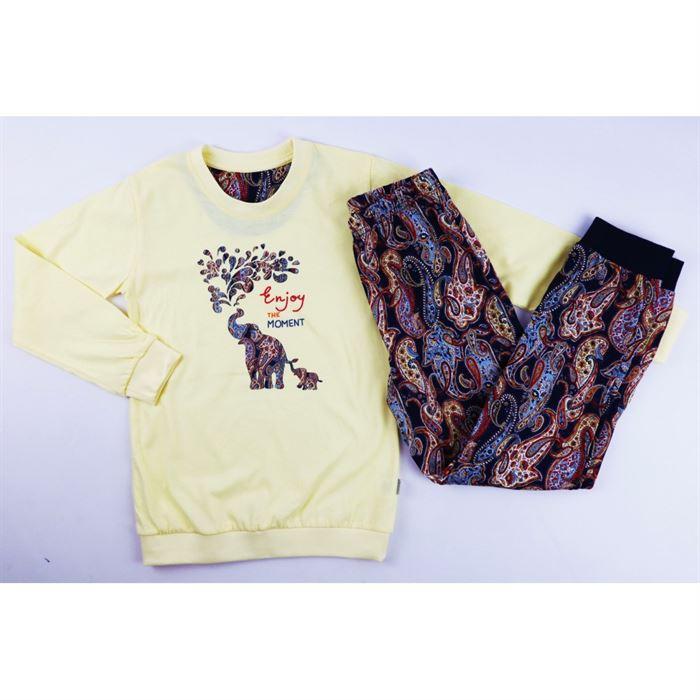Jasno-żółta piżamka dla dziewczynki ze słoniem