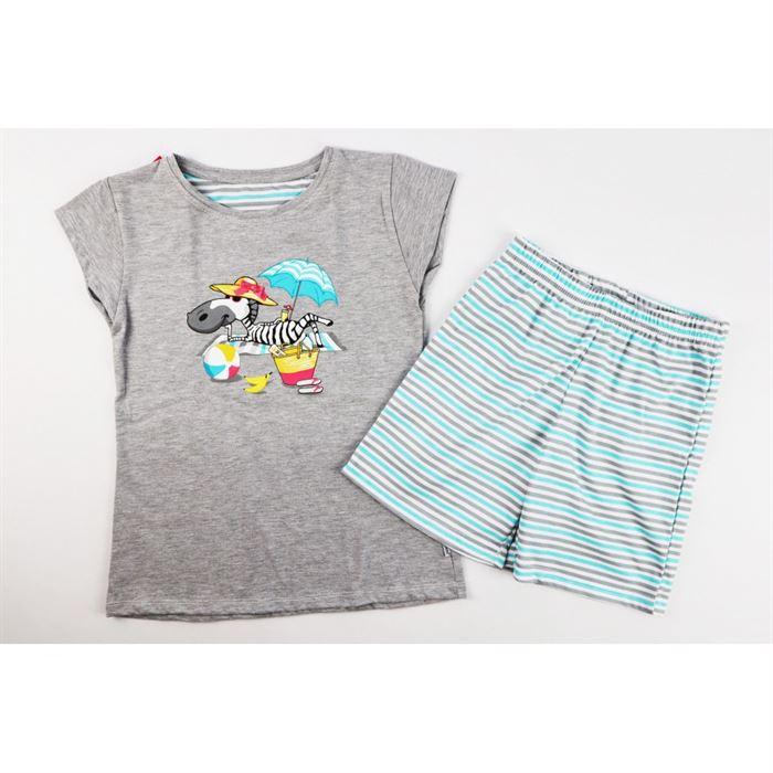 Szara piżamka dla dziewczynki z zebrą