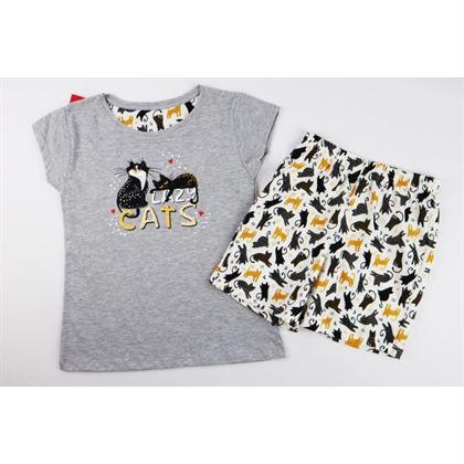 Szara piżamka dla dziewczynki z kotkami