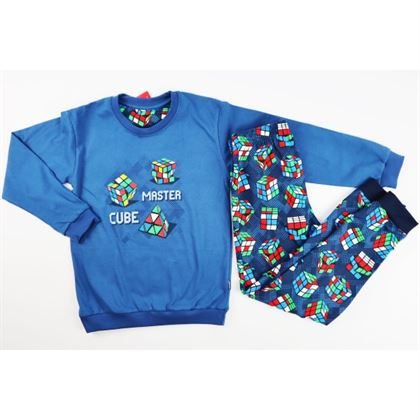 Piżamka dla chłopca granatowa z kostkami do gry