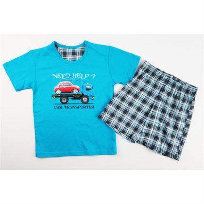 Turkusowa piżamka dla chłopca z samochodem