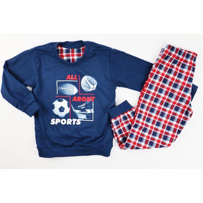 Piżamka dla chłopca granatowa z piłkami