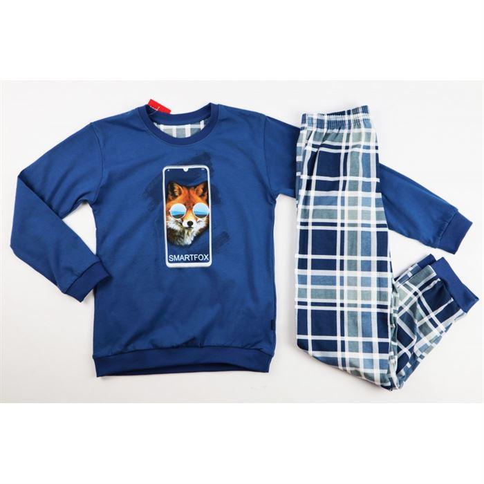 Granatowa piżamka dla chłopca z liskiem długi rękaw