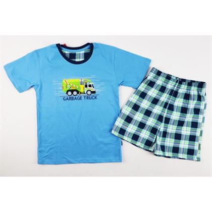 Niebieska piżamka chłopięca z zieloną grafiką krótki rękaw