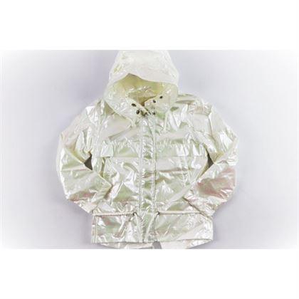Perłowa kurtka holograficzna dla dziewczynki z kapturem