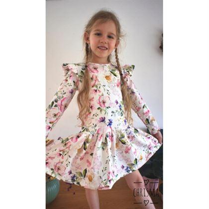 Sukienka dla dziewczynki ecru w piękne kwiatuszki