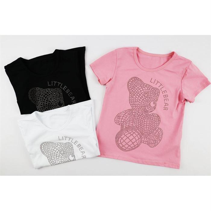 T-shirt z misiem dla dziewczynki, do wyboru 3 kolory