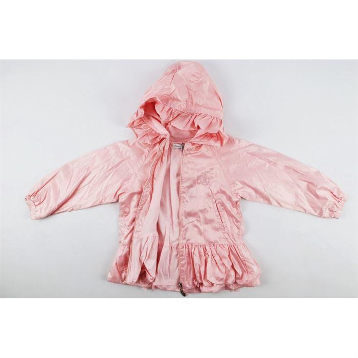 Różowa kurteczka z kapturem i falbankami dla dziewczynki